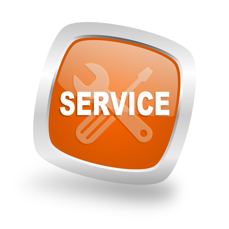 silver service: service square glossy orange chrome silver metallic web icon