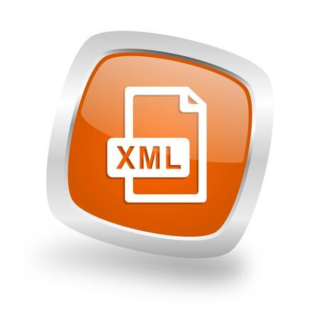 xml: xml file square glossy orange chrome silver metallic web icon
