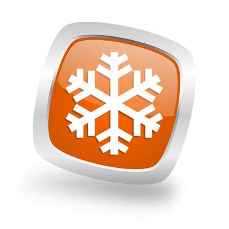 snow square glossy orange chrome silver metallic web icon