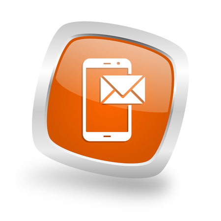mail square glossy orange chrome silver metallic web icon