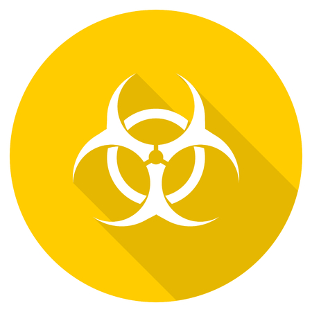 bacterioa: biohazard flat design yellow round web icon