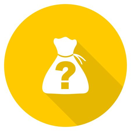 riddle: riddle flat design yellow round web icon Stock Photo