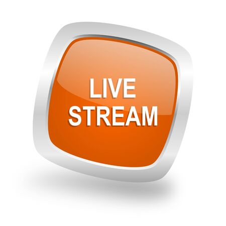 live stream: live stream square glossy orange chrome silver metallic web icon