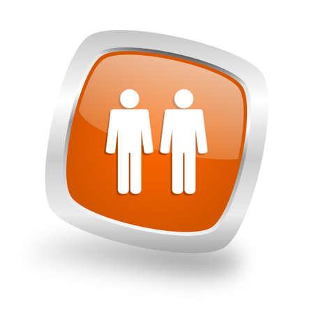 couple square glossy orange chrome silver metallic web icon Stock Photo