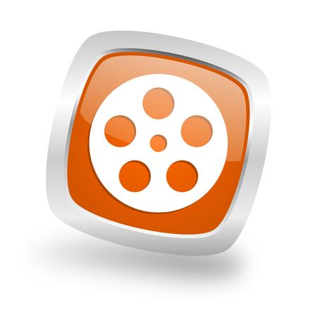 film square glossy orange chrome silver metallic web icon