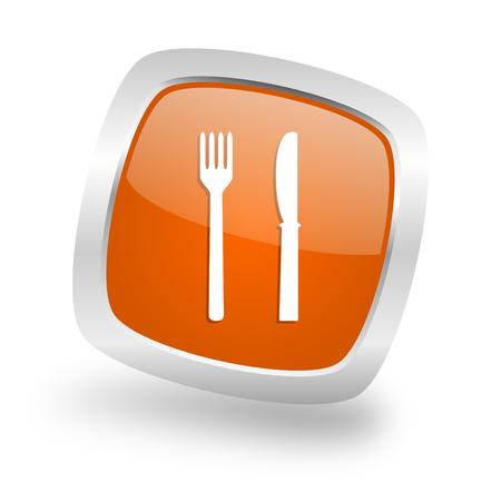 eat square glossy orange chrome silver metallic web icon