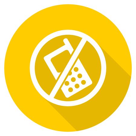 no phone flat design yellow round web icon