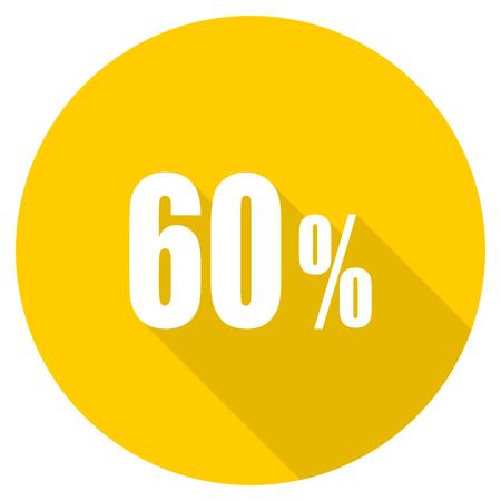 60 percent flat design yellow round web icon