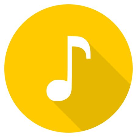 music flat design yellow round web icon