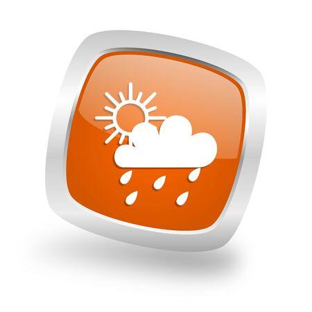 rain square glossy orange chrome silver metallic web icon Stock Photo