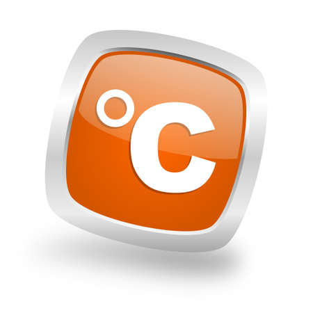 celsius square glossy orange chrome silver metallic web icon Stock Photo