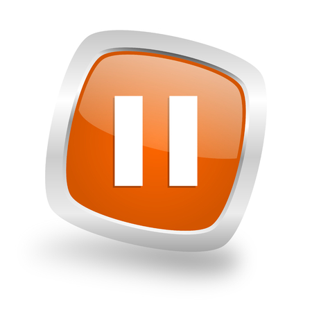eject icon: pause square glossy orange chrome silver metallic web icon Stock Photo