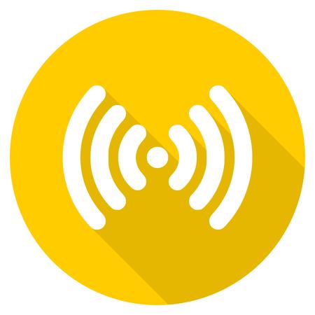 wifi flat design yellow round web icon