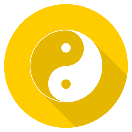 ying yang flat design yellow round web icon Stock Photo