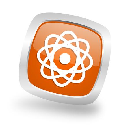 atom square glossy orange chrome silver metallic web icon