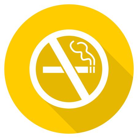 no smoking flat design yellow round web icon Stock Photo