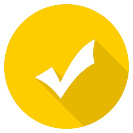 yea: accept flat design yellow round web icon Stock Photo