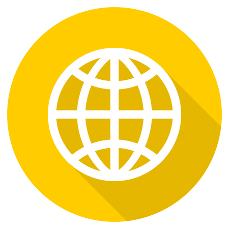 flat earth: earth flat design yellow round web icon