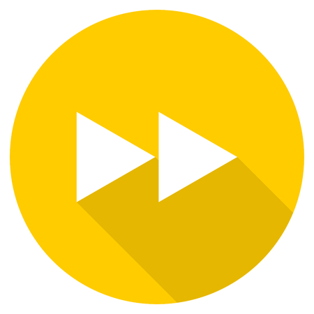 eject icon: rewind flat design yellow round web icon