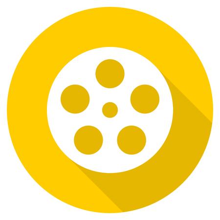 film flat design yellow round web icon