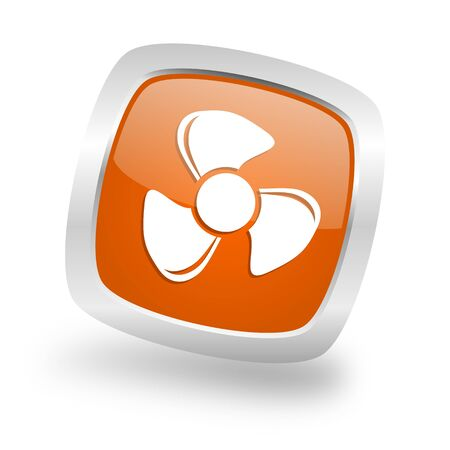 fan square glossy orange chrome silver metallic web icon