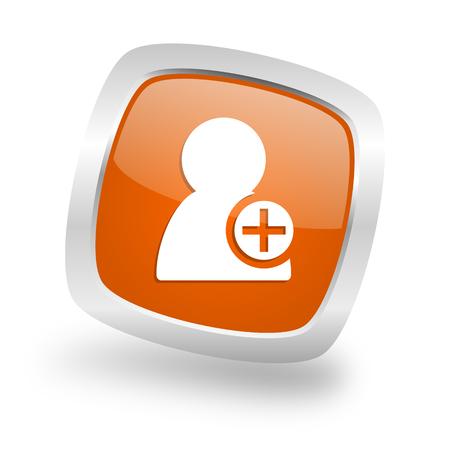 administrador de empresas: añadir contactos cuadrados brillante de color naranja cromo web icono metálico de plata