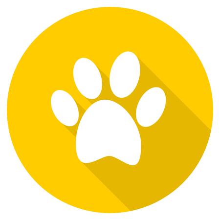foot flat design yellow round web icon