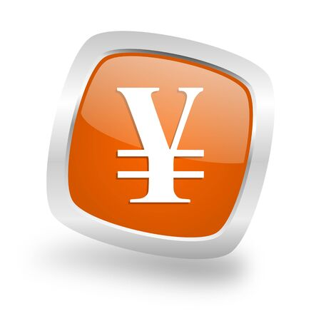 yen square glossy orange chrome silver metallic web icon