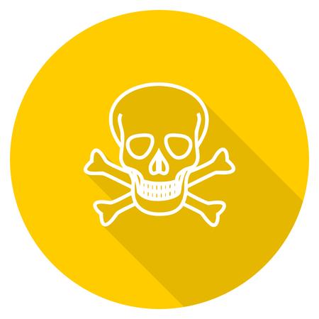 skull flat design yellow round web icon
