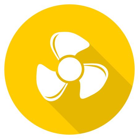 fan flat design yellow round web icon