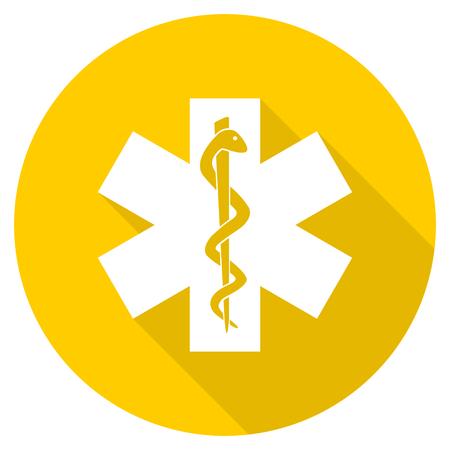 emergency flat design yellow round web icon