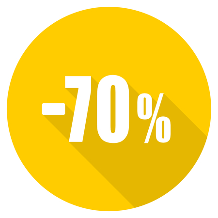 seventy: 70 percent sale retail flat design yellow round web icon