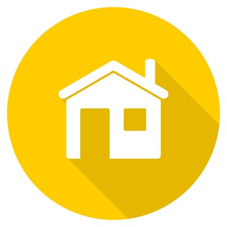 house flat design yellow round web icon