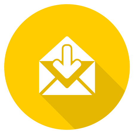 email flat design yellow round web icon Stock Photo