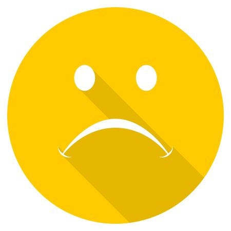 cry flat design yellow round web icon Stock Photo