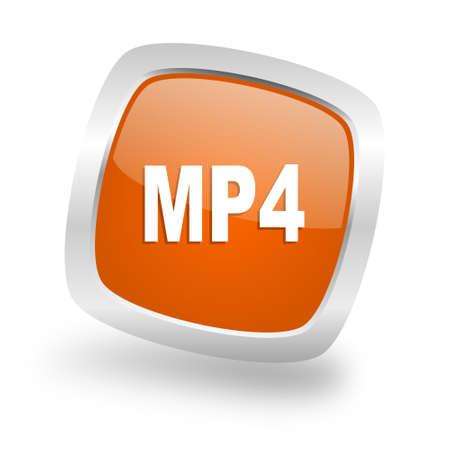 mp4: mp4 square glossy orange chrome silver metallic web icon Stock Photo