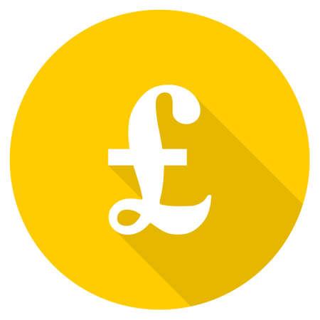 pound flat design yellow round web icon Stock Photo