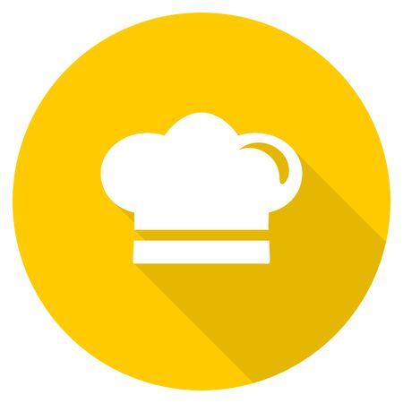 cook flat design yellow round web icon Stock Photo