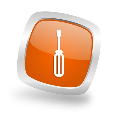 tool square glossy orange chrome silver metallic web icon Stock Photo