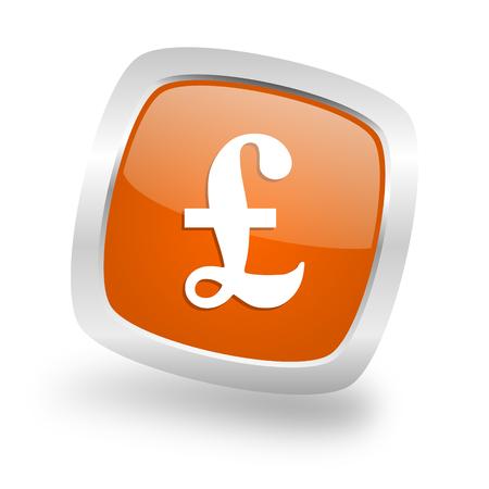 pound square glossy orange chrome silver metallic web icon