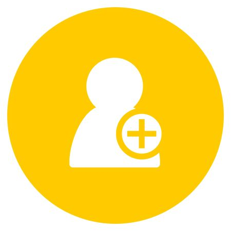 add contact flat design yellow round web icon