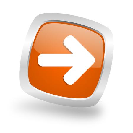navigation panel: right arrow square glossy orange chrome silver metallic web icon Stock Photo