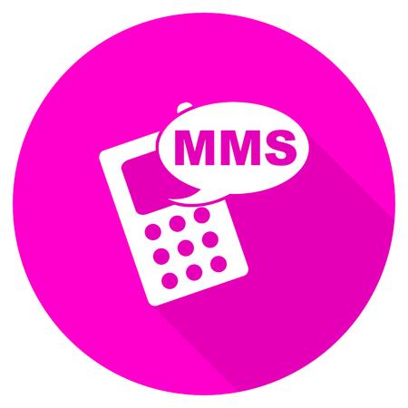 mms icon: mms flat pink icon