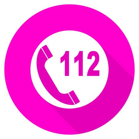 emergency call: emergency call flat pink icon Stock Photo