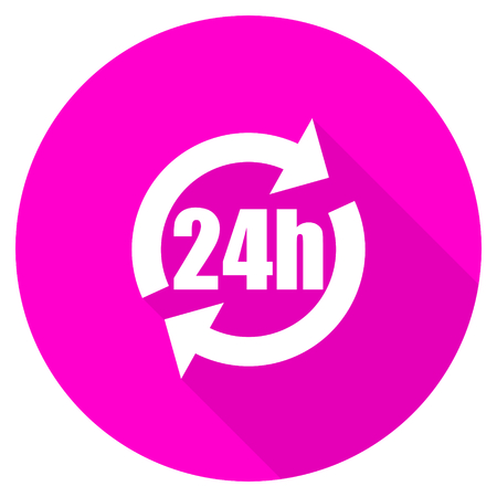 24h: 24h flat pink icon