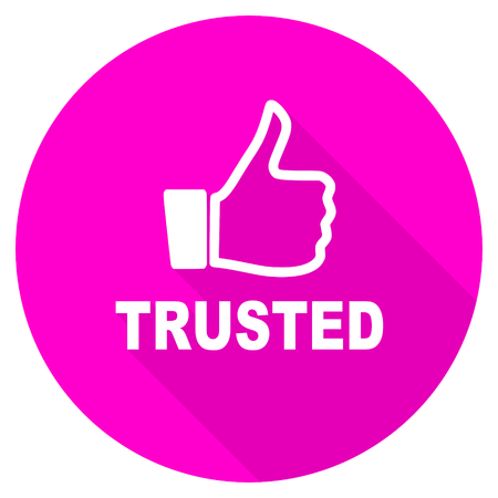 trusted: trusted flat pink icon