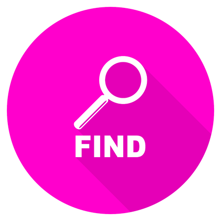 find: find flat pink icon Stock Photo