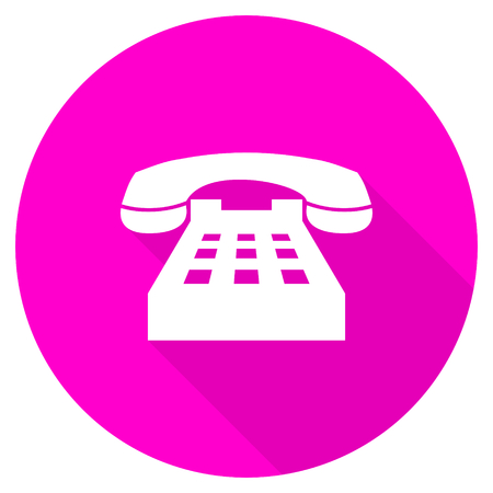 technological and communication: phone flat pink icon