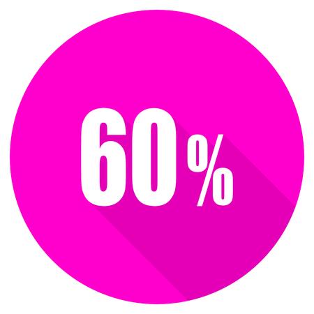60: 60 percent flat pink icon