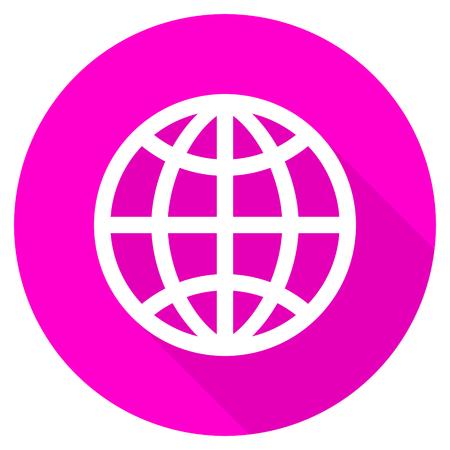 flat earth: earth flat pink icon